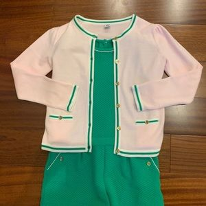 Pink and green romper and sweater set